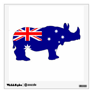 Australian Flag - Rhinoceros Wall Sticker