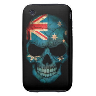 Australian Flag Skull on Black iPhone 3 Tough Covers