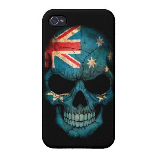 Australian Flag Skull on Black iPhone 4/4S Cases