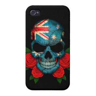 Australian Flag Skull with Red Roses Cases For iPhone 4