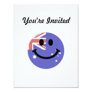 """Australian flag smiley face 4.25"""" x 5.5"""" invitation card"""