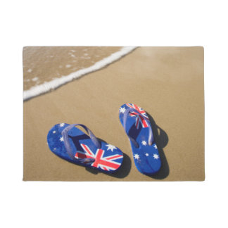 Australian Flag Thongs On Beach | South Wales Doormat