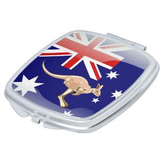 Australian glossy flag travel mirror