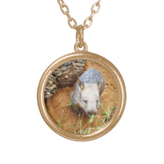 Australian Hairy Nose Wombat Sniffing Leaves, Gold Plated Necklace