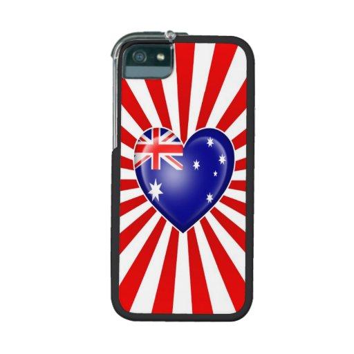 Australian Heart Flag with Star Burst iPhone 5 Cases