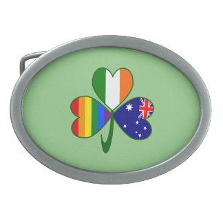 Australian Irish Gay Pride Shamrock Belt Buckles