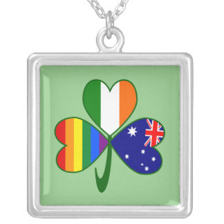 Australian Irish Gay Pride Shamrock Silver Plated Necklace