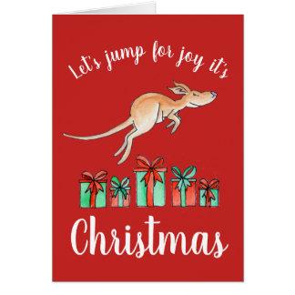 Australian jump for joy kangaroo Christmas card