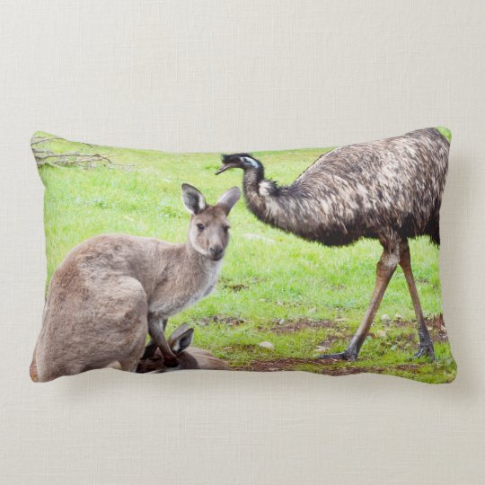 Australian Kangaroo And Emu, Lumbar Cushion