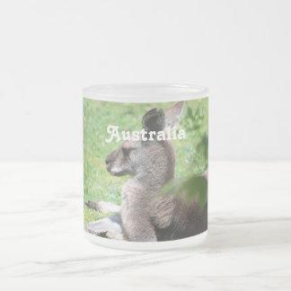 Australian Kangaroo Frosted Glass Mug