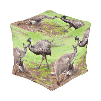 Australian Kangaroos And Emu, Pouf