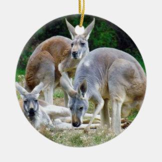 Australian Kangaroos Relaxing in the Sun Ceramic Ornament