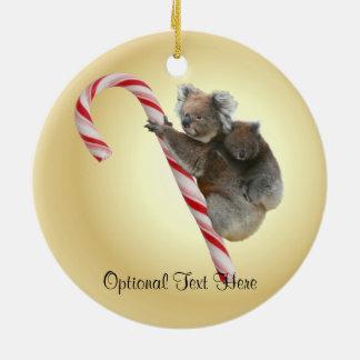 Australian Koala Christmas Candy Cane Round Ceramic Ornament