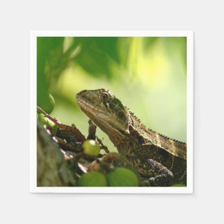 Australian lizard between leaves, Photo Cocktail Disposable Napkin