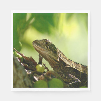 Australian lizard between leaves, Photo Luncheon Disposable Napkins