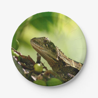 "Australian lizard hiding between leaves, 7"" Photo Paper Plate"
