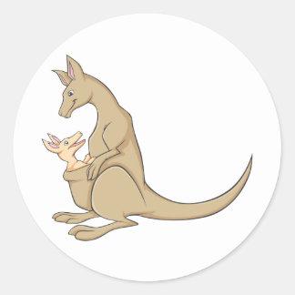 Australian Mama Kangaroo and Baby Joey Round Sticker