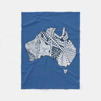 Australian Map Art Fleece Blanket