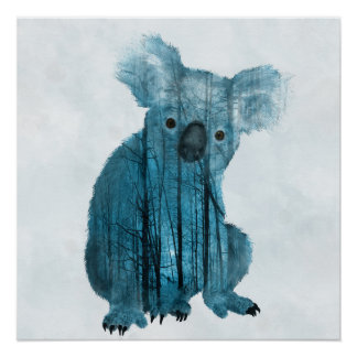 Australian Misty Forest Koala Poster