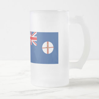 Australian New South Wales Flag Frosted Glass Beer Mug