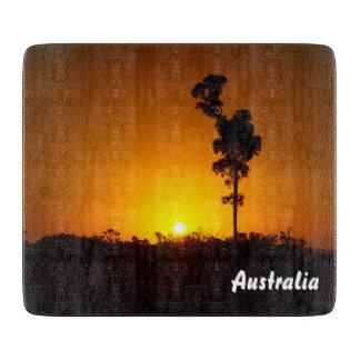 Australian outback sunset glass cutting board