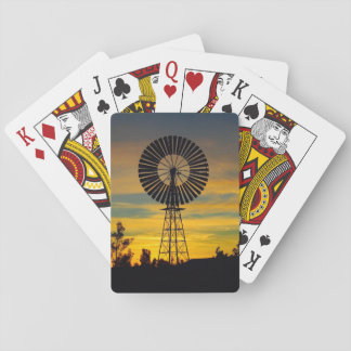 Australian outback windmill sunset playing cards