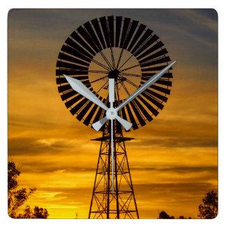 Australian Outback Windmill Sunset wall clock