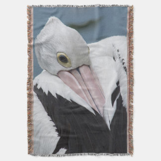 Australian pelican close up throw blanket