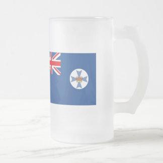 Australian Queensland Flag Frosted Glass Beer Mug