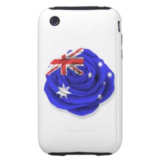 Australian Rose Flag on White iPhone 3 Tough Cover