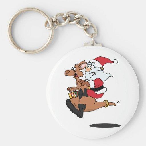 Australian Santa riding a Christmas kangaroo Basic Round Button Keychain