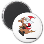 Australian Santa riding a Christmas kangaroo Refrigerator Magnet