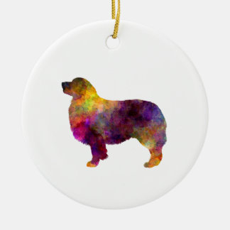 Australian Shepherd 01 in watercolor 2 Ceramic Ornament