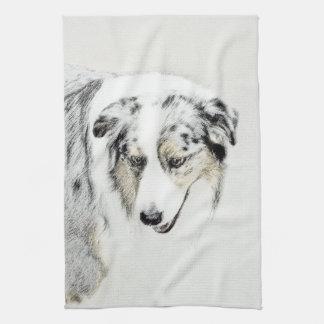 Australian Shepherd 2 Painting - Cute Original Art Kitchen Towel