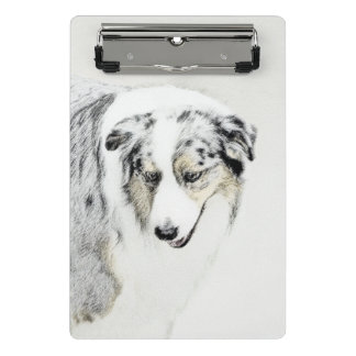 Australian Shepherd 2 Painting - Original Dog Art Mini Clipboard