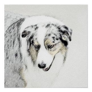 Australian Shepherd 2 Painting - Original Dog Art Poster