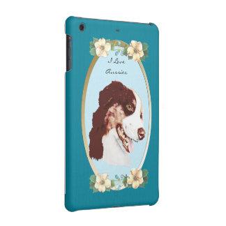 Australian Shepherd and Teal Floral iPad Mini Retina Cases