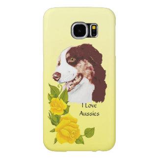 Australian Shepherd and Yellow Roses S6 Samsung Galaxy S6 Cases