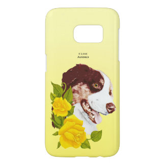 Australian Shepherd and Yellow Roses S7 Samsung Galaxy S7 Case
