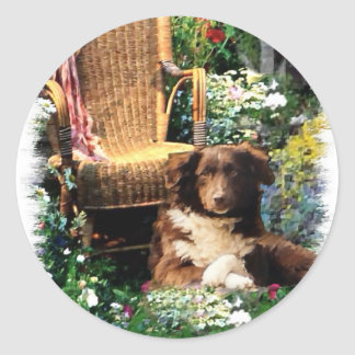 Australian Shepherd Art Gifts Classic Round Sticker