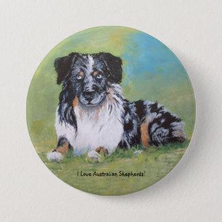 Australian Shepherd, beautiful blue merle! 3 Inch Round Button