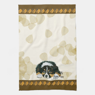 Australian Shepherd Black Tri Puppy ~Tan Leaves Kitchen Towel