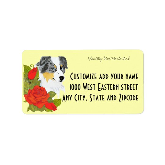 Australian Shepherd Blue Merle Girl Address Label