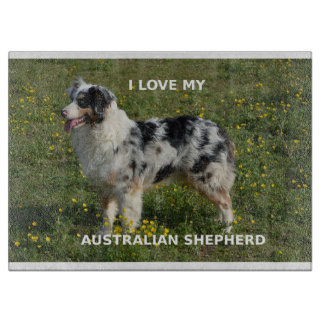 australian shepherd blue merle love w pic cutting board