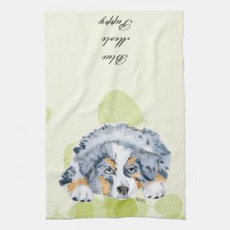 Australian Shepherd Blue Merle Puppy -Green Leaves Kitchen Towel