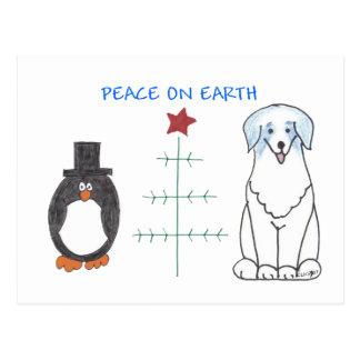 Australian Shepherd Blue Peace On Earth Postcard