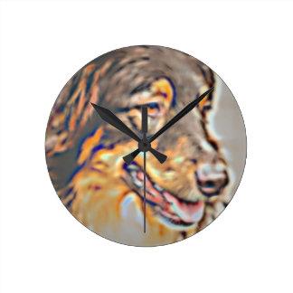 Australian Shepherd Cartoon Round Clock