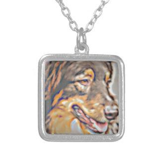 Australian Shepherd Cartoon Silver Plated Necklace