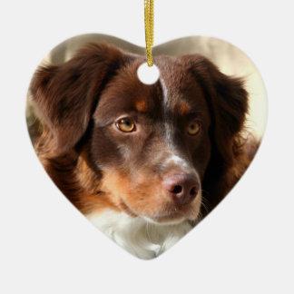 Australian Shepherd Ceramic Heart Ornament