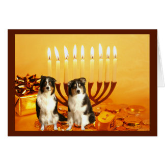 Australian Shepherd Chanukah Card Menorah